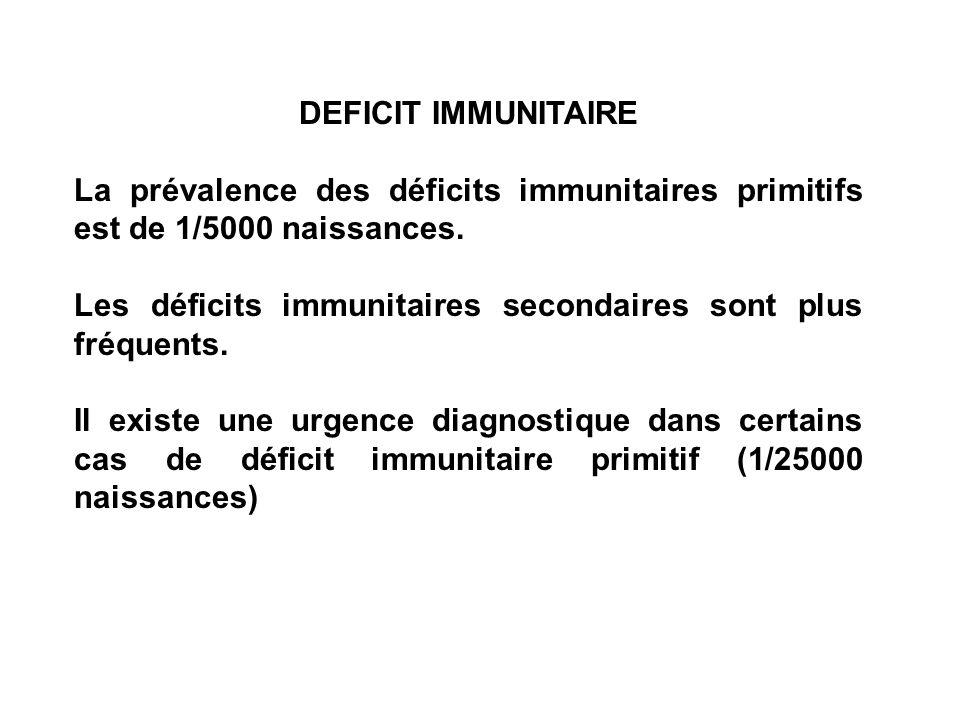 DEFICIT IMMUNITAIRE La prévalence des déficits immunitaires primitifs est de 1/5000 naissances. Les déficits immunitaires secondaires sont plus fréque