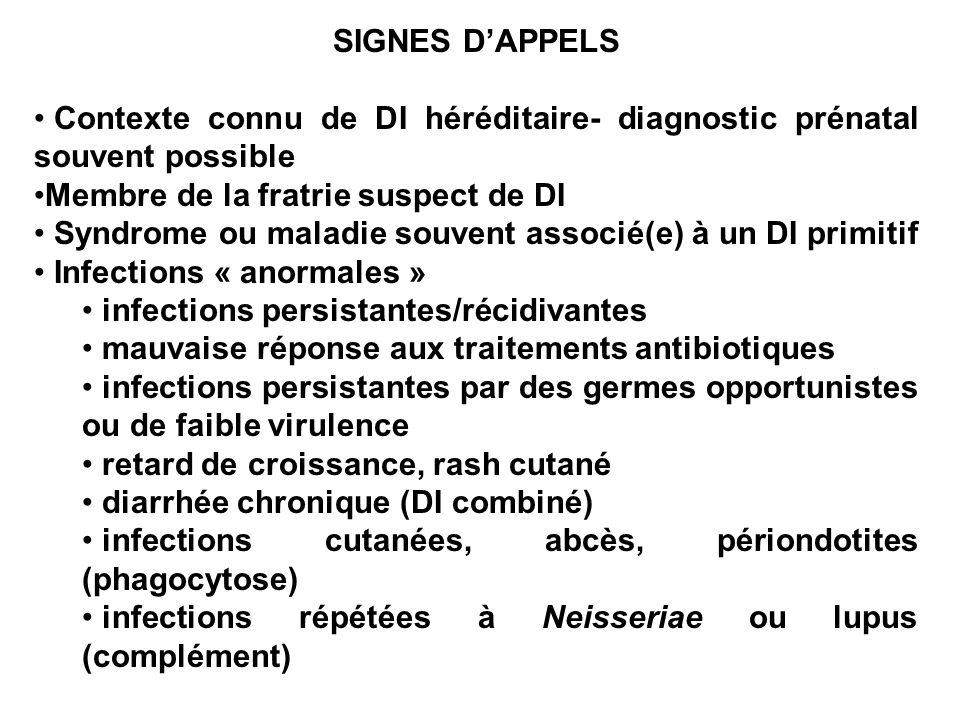 ANAMNESE Le malade et sa famille infections (fréquence, localisations, germes) état des vaccinations +++, de plus si DI cellulaire et BCG mise en route dun traitement anti-tuberculeux Infections « anormales » symptomatologie neurologique (Di georges, ataxie télangiectasie) signes cutanés (phagocytose, granulomatose) Signes hémorragiques (Wiskott Aldrich) Allergies et signes digestifs (déficit en IgA, DI combinées variables) Transfusions, suspicion de GVH