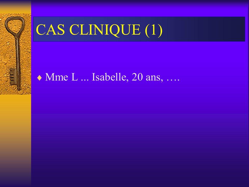 CAS CLINIQUE (1) Mme L... Isabelle, 20 ans, ….