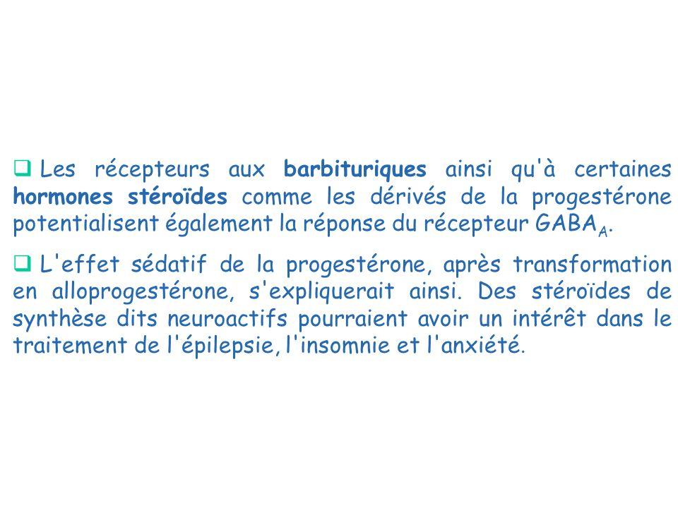 Les récepteurs aux barbituriques ainsi qu'à certaines hormones stéroïdes comme les dérivés de la progestérone potentialisent également la réponse du r