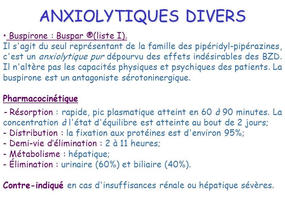ANXIOLYTIQUES DIVERS Buspirone : Buspar ®(liste I). Il s'agit du seul représentant de la famille des pipéridyl-pipérazines, c'est un anxiolytique pur