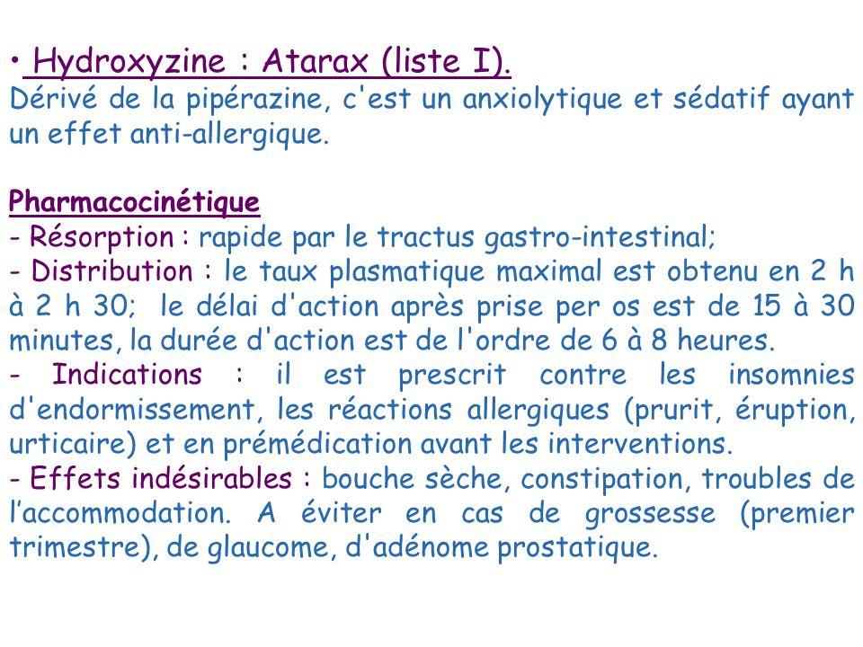 Hydroxyzine : Atarax (liste I). Dérivé de la pipérazine, c'est un anxiolytique et sédatif ayant un effet anti-allergique. Pharmacocinétique - Résorpti
