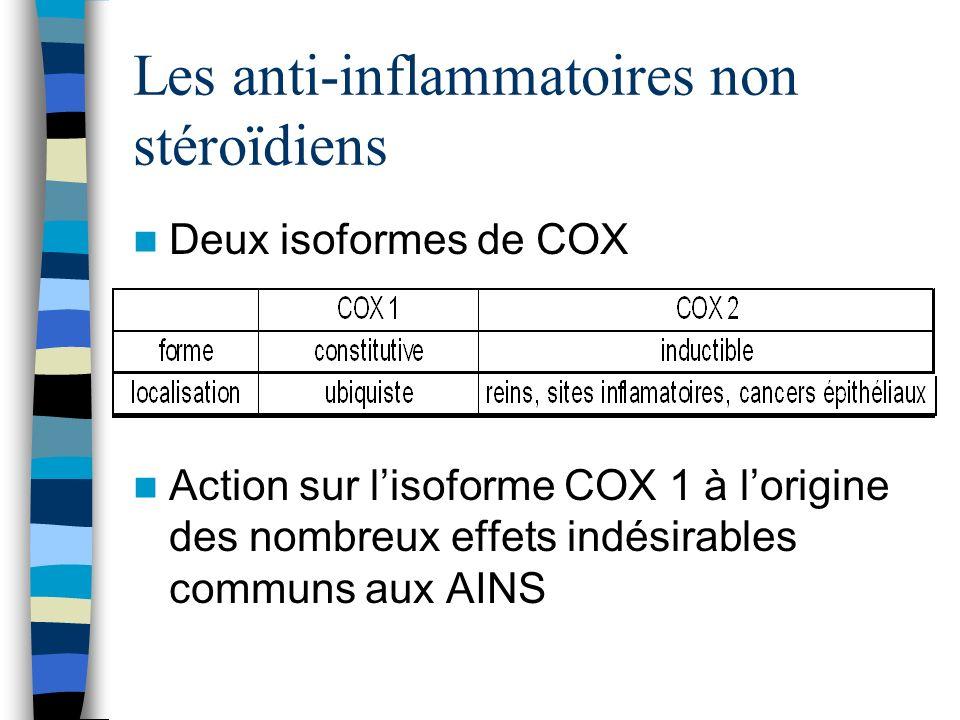 Les anti-inflammatoires non stéroïdiens Deux isoformes de COX Action sur lisoforme COX 1 à lorigine des nombreux effets indésirables communs aux AINS