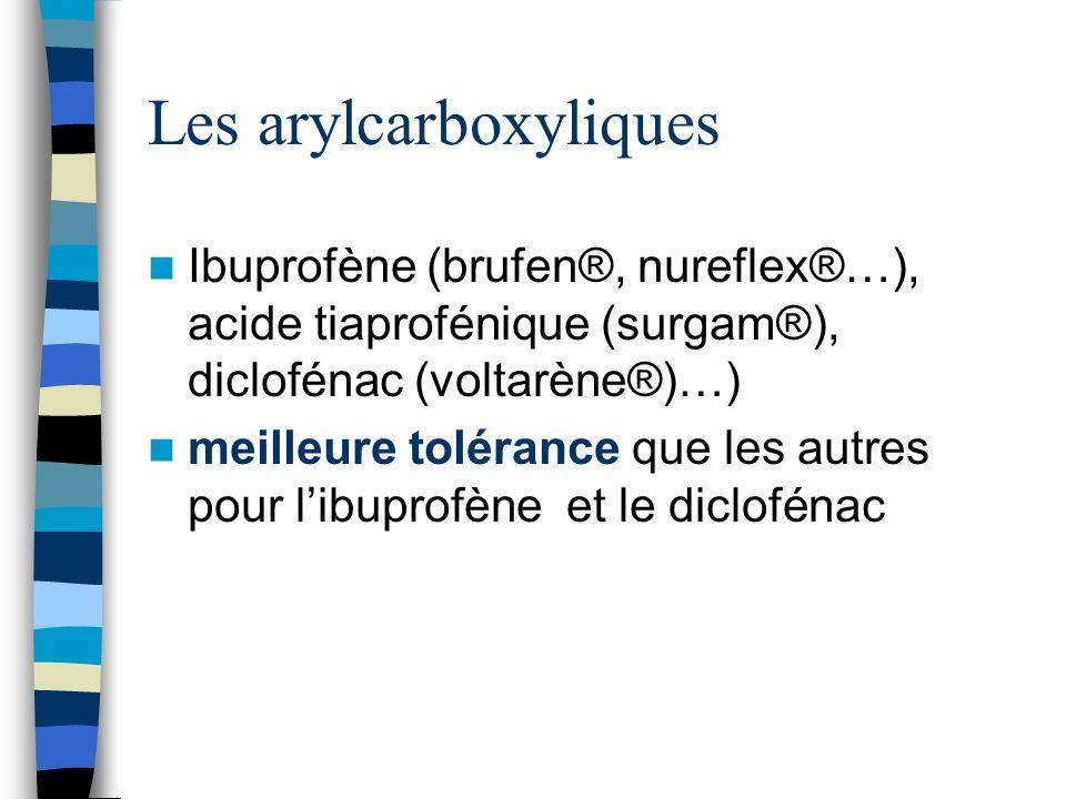 Les arylcarboxyliques Ibuprofène (brufen®, nureflex®…), acide tiaprofénique (surgam®), diclofénac (voltarène®)…) meilleure tolérance que les autres po