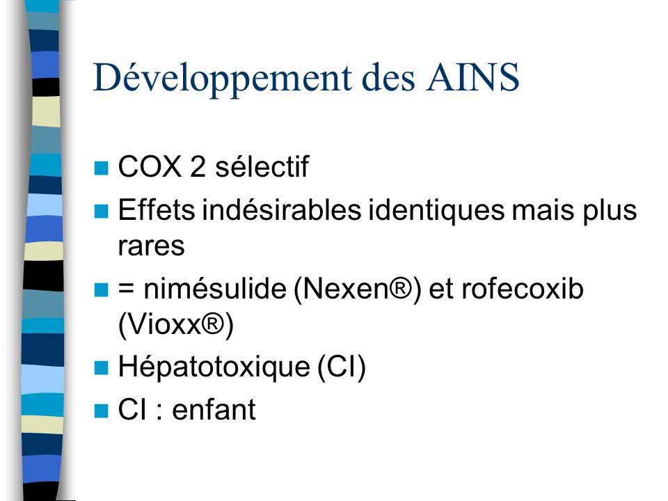 Développement des AINS COX 2 sélectif Effets indésirables identiques mais plus rares = nimésulide (Nexen®) et rofecoxib (Vioxx®) Hépatotoxique (CI) CI
