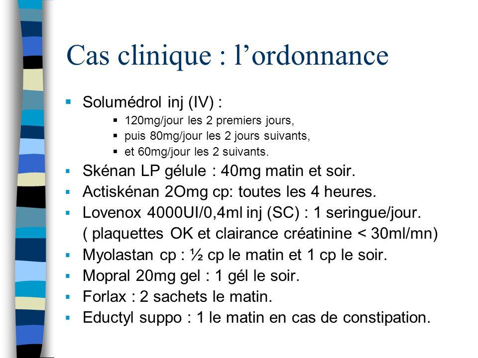 Cas clinique : lordonnance Solumédrol inj (IV) : 120mg/jour les 2 premiers jours, puis 80mg/jour les 2 jours suivants, et 60mg/jour les 2 suivants. Sk