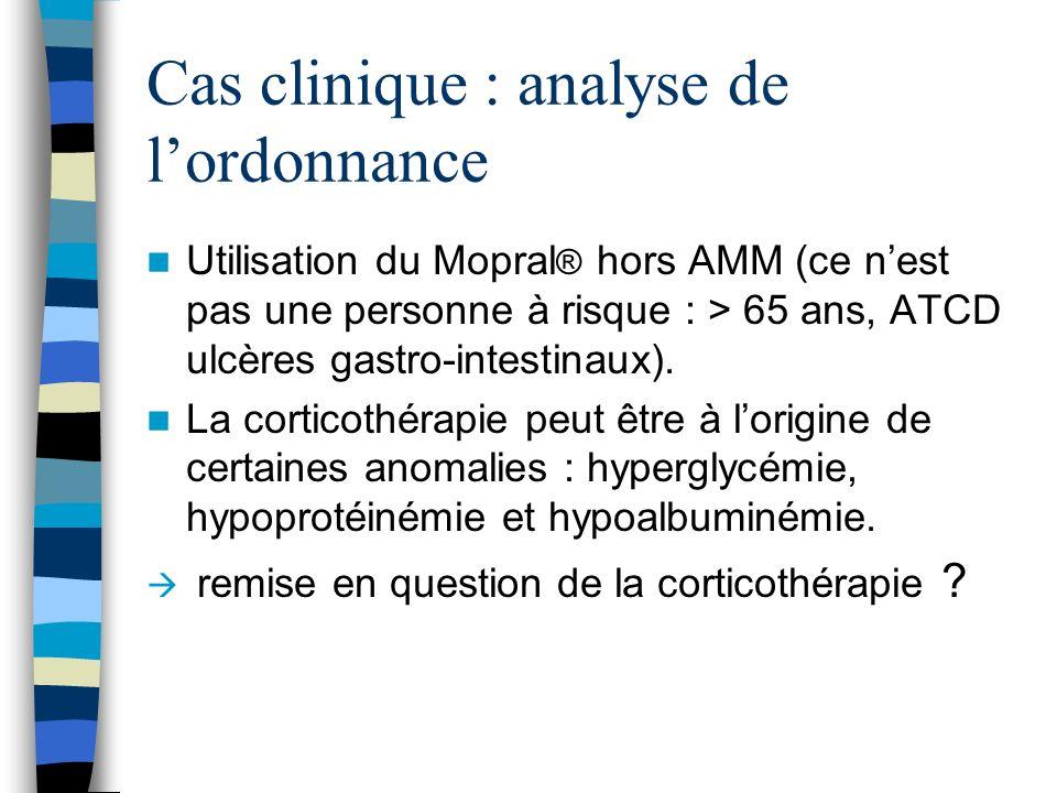 Cas clinique : analyse de lordonnance Utilisation du Mopral ® hors AMM (ce nest pas une personne à risque : > 65 ans, ATCD ulcères gastro-intestinaux)