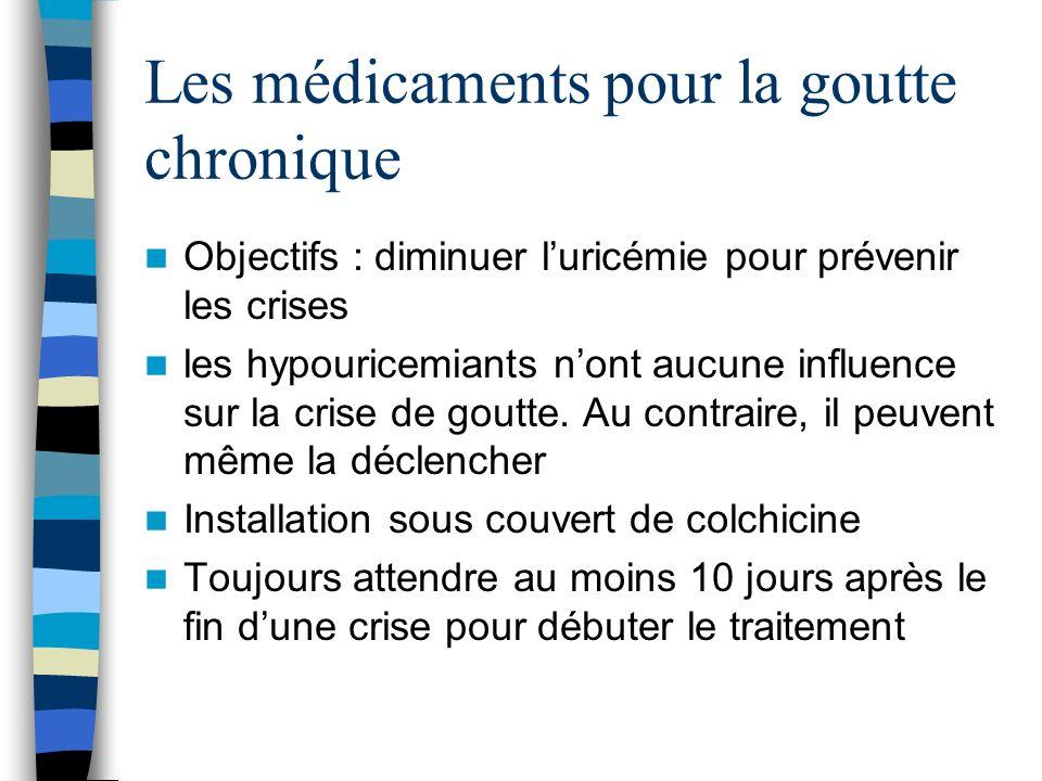 Les médicaments pour la goutte chronique Objectifs : diminuer luricémie pour prévenir les crises les hypouricemiants nont aucune influence sur la cris