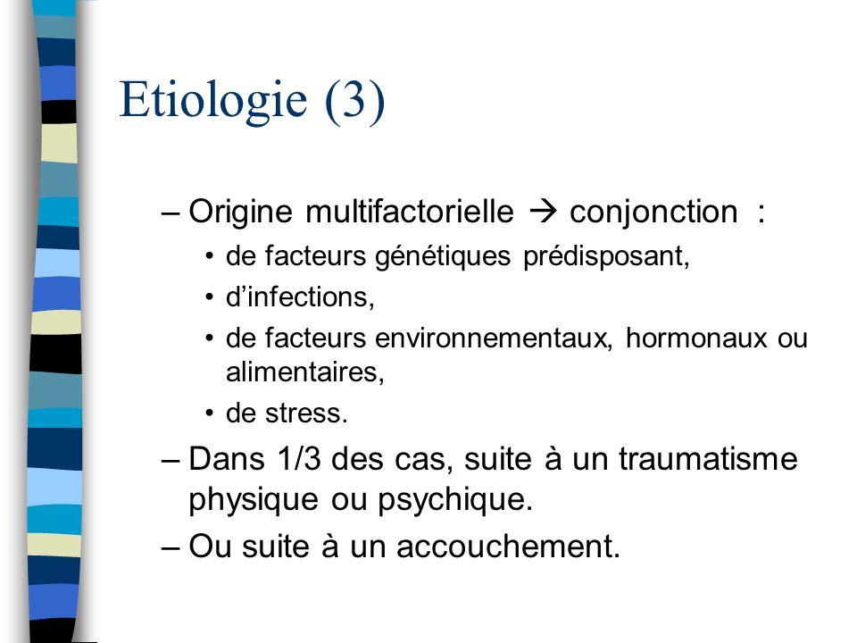 Etiologie (3) –Origine multifactorielle conjonction : de facteurs génétiques prédisposant, dinfections, de facteurs environnementaux, hormonaux ou ali