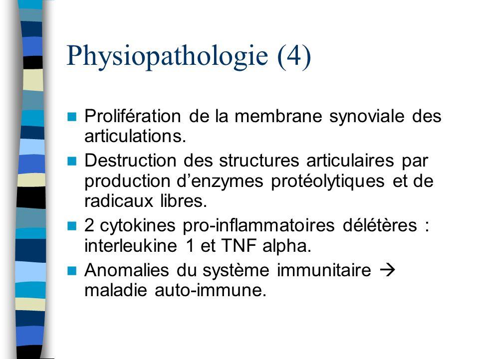 Physiopathologie (4) Prolifération de la membrane synoviale des articulations. Destruction des structures articulaires par production denzymes protéol