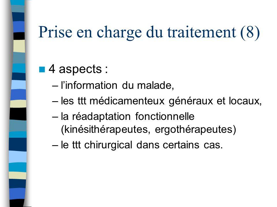4 aspects : –linformation du malade, –les ttt médicamenteux généraux et locaux, –la réadaptation fonctionnelle (kinésithérapeutes, ergothérapeutes) –l