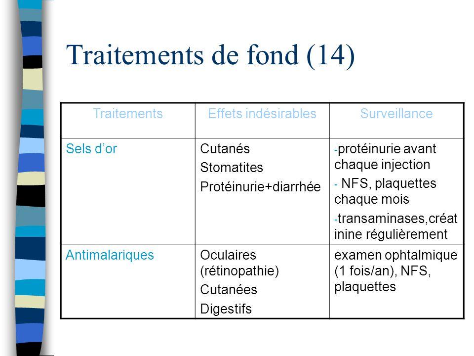Traitements de fond (14) TraitementsEffets indésirablesSurveillance Sels dorCutanés Stomatites Protéinurie+diarrhée - protéinurie avant chaque injecti