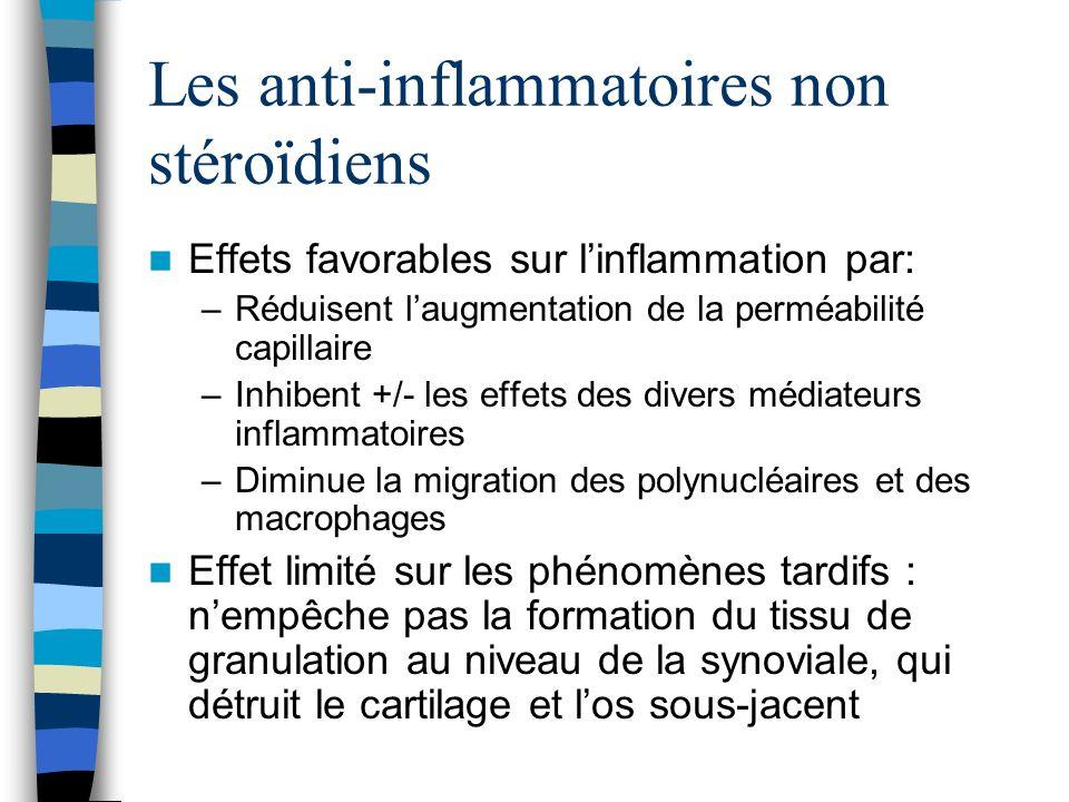 Les anti-inflammatoires non stéroïdiens Effets favorables sur linflammation par: –Réduisent laugmentation de la perméabilité capillaire –Inhibent +/-