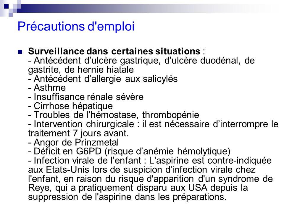 Contre-indications absolues : - Hypersensibilité aux salicylés ou à ses excipients - Certaines interactions médicamenteuses (cf ce paragraphe) - Grossesse : dernier trimestre (dose supérieure à 500 mg/jour et par prise) - Allaitement - Nouveau-né - Ulcère gastrique, ulcère duodénal, gastrite - Syndrome hémorragique (acquis ou congénital) - Anesthésie péridurale (risque dhématome extradural) - Antécédent dasthme provoqué par ladministration de salicylés - Insuffisance hépatique sévère - Insuffisance rénale sévère - Insuffisance cardiaque sévère non contrôlée