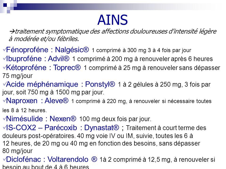 Fénoproféne : Nalgésic® 1 comprimé à 300 mg 3 à 4 fois par jour Ibuproféne : Advil® 1 comprimé à 200 mg à renouveler après 6 heures Kétoproféne : Topr