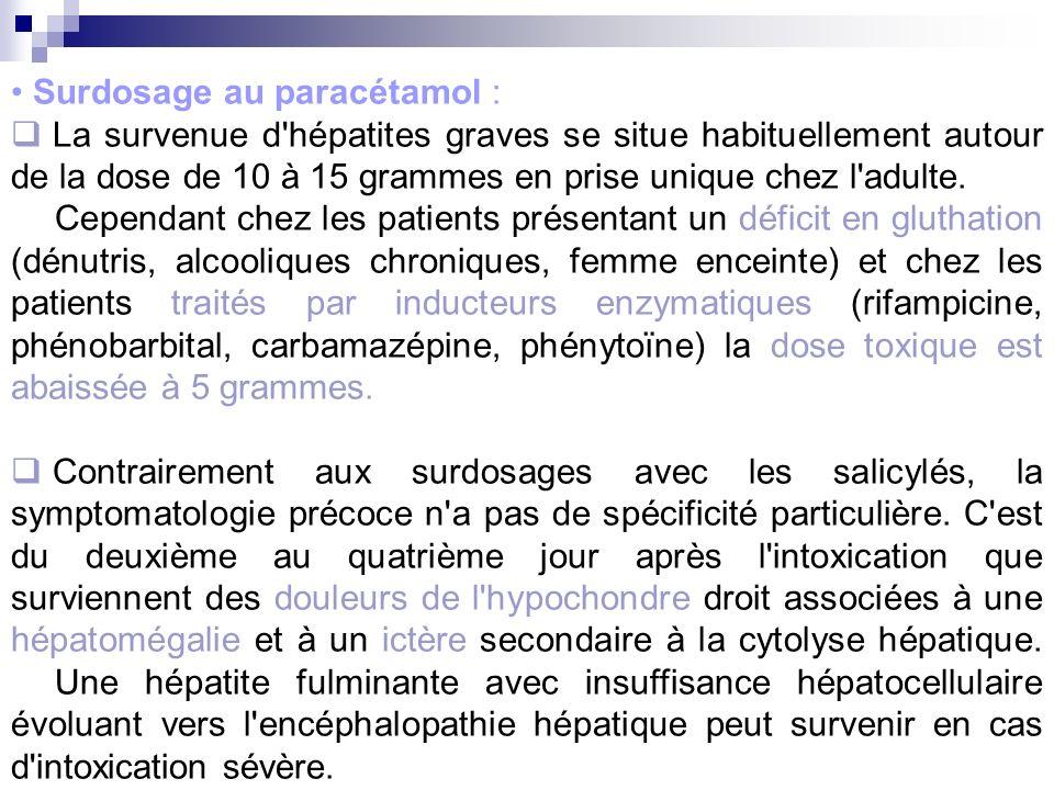 Surdosage au paracétamol : La survenue d'hépatites graves se situe habituellement autour de la dose de 10 à 15 grammes en prise unique chez l'adulte.