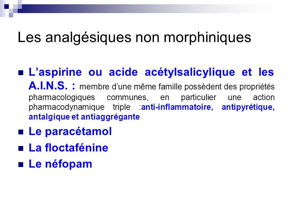 Les analgésiques non morphiniques Laspirine ou acide acétylsalicylique et les A.I.N.S. : membre dune même famille possèdent des propriétés pharmacolog