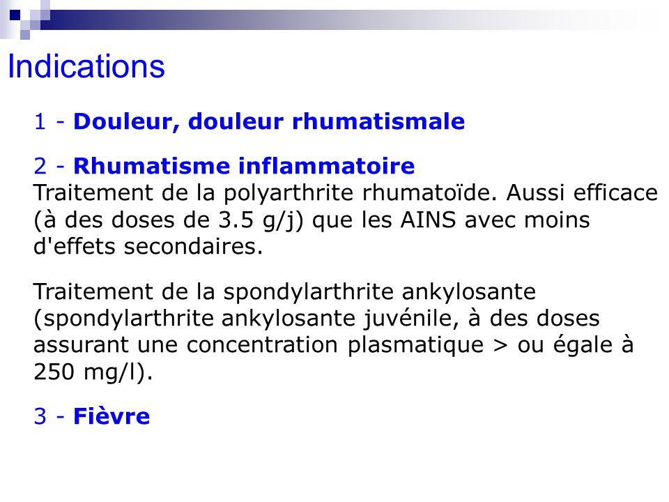 1 - Douleur, douleur rhumatismale 2 - Rhumatisme inflammatoire Traitement de la polyarthrite rhumatoïde. Aussi efficace (à des doses de 3.5 g/j) que l