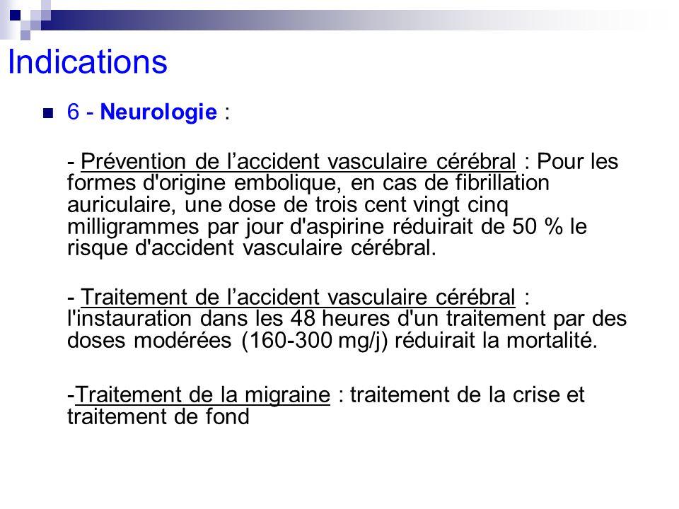 6 - Neurologie : - Prévention de laccident vasculaire cérébral : Pour les formes d'origine embolique, en cas de fibrillation auriculaire, une dose de