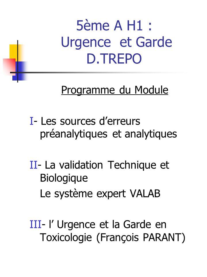 5ème A H1 : Urgence et Garde D.TREPO Programme du Module I- Les sources derreurs préanalytiques et analytiques II- La validation Technique et Biologiq