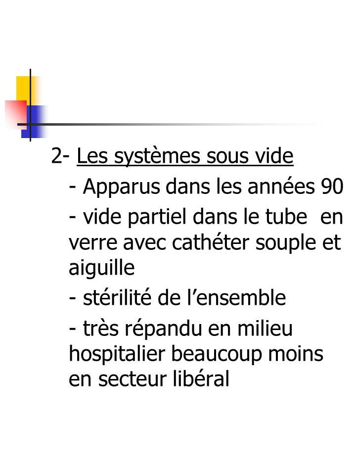 2- Les systèmes sous vide - Apparus dans les années 90 - vide partiel dans le tube en verre avec cathéter souple et aiguille - stérilité de lensemble