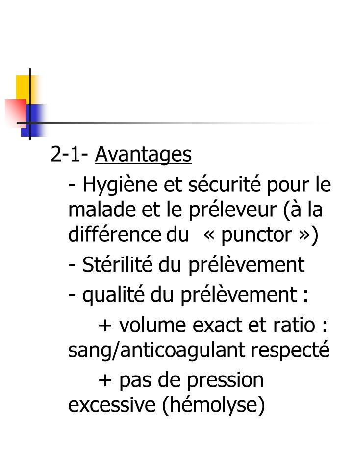 2-1- Avantages - Hygiène et sécurité pour le malade et le préleveur (à la différence du « punctor ») - Stérilité du prélèvement - qualité du prélèveme