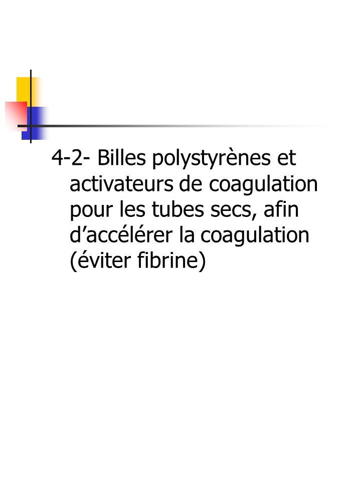 4-2- Billes polystyrènes et activateurs de coagulation pour les tubes secs, afin daccélérer la coagulation (éviter fibrine)