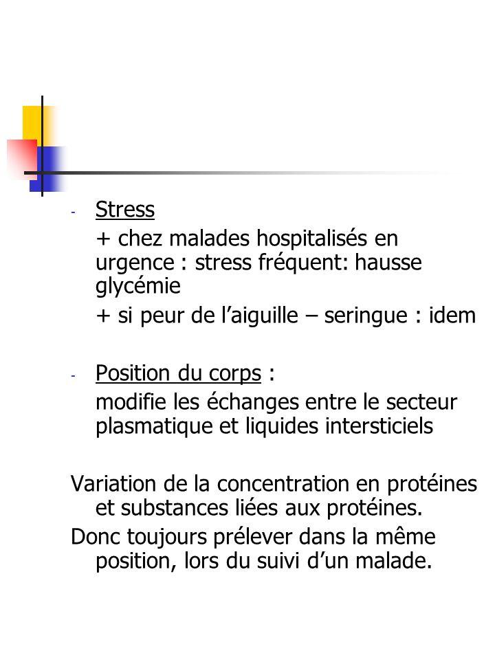 - Stress + chez malades hospitalisés en urgence : stress fréquent: hausse glycémie + si peur de laiguille – seringue : idem - Position du corps : modi