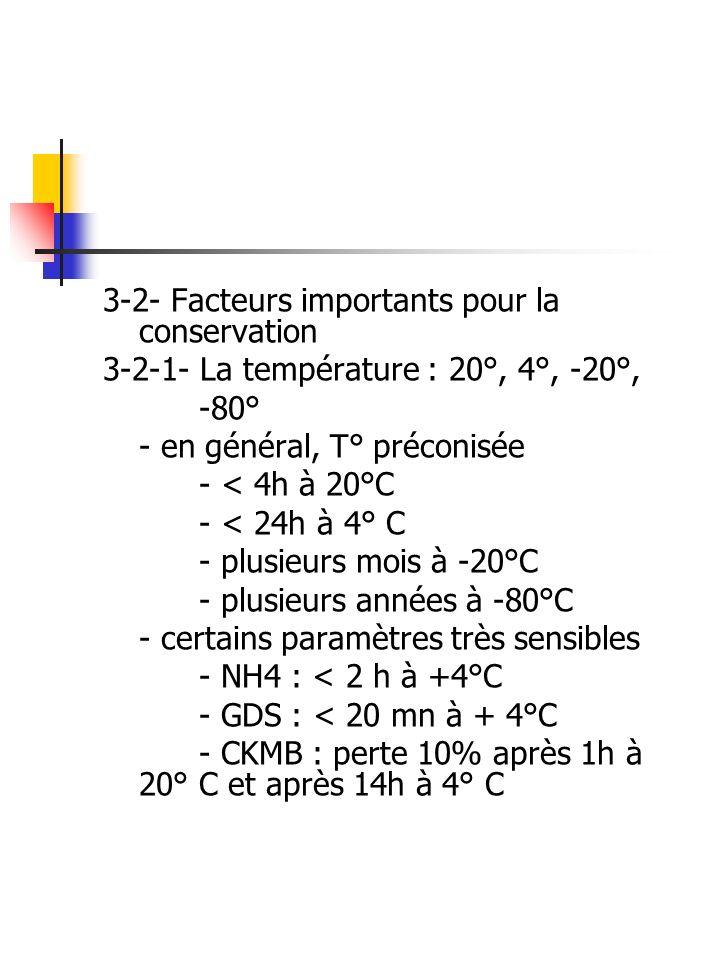 3-2- Facteurs importants pour la conservation 3-2-1- La température : 20°, 4°, -20°, -80° - en général, T° préconisée - < 4h à 20°C - < 24h à 4° C - p