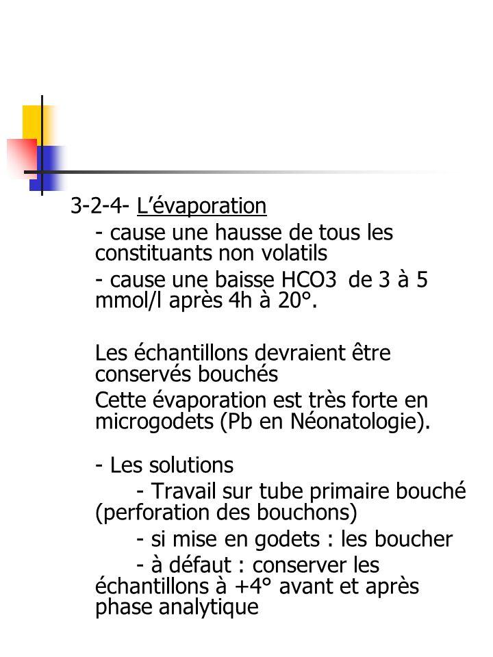 3-2-4- Lévaporation - cause une hausse de tous les constituants non volatils - cause une baisse HCO3 de 3 à 5 mmol/l après 4h à 20°. Les échantillons