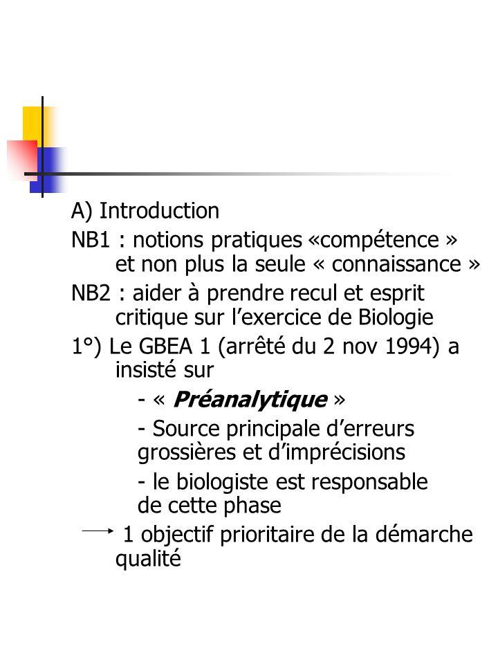 A) Introduction NB1 : notions pratiques «compétence » et non plus la seule « connaissance » NB2 : aider à prendre recul et esprit critique sur lexerci