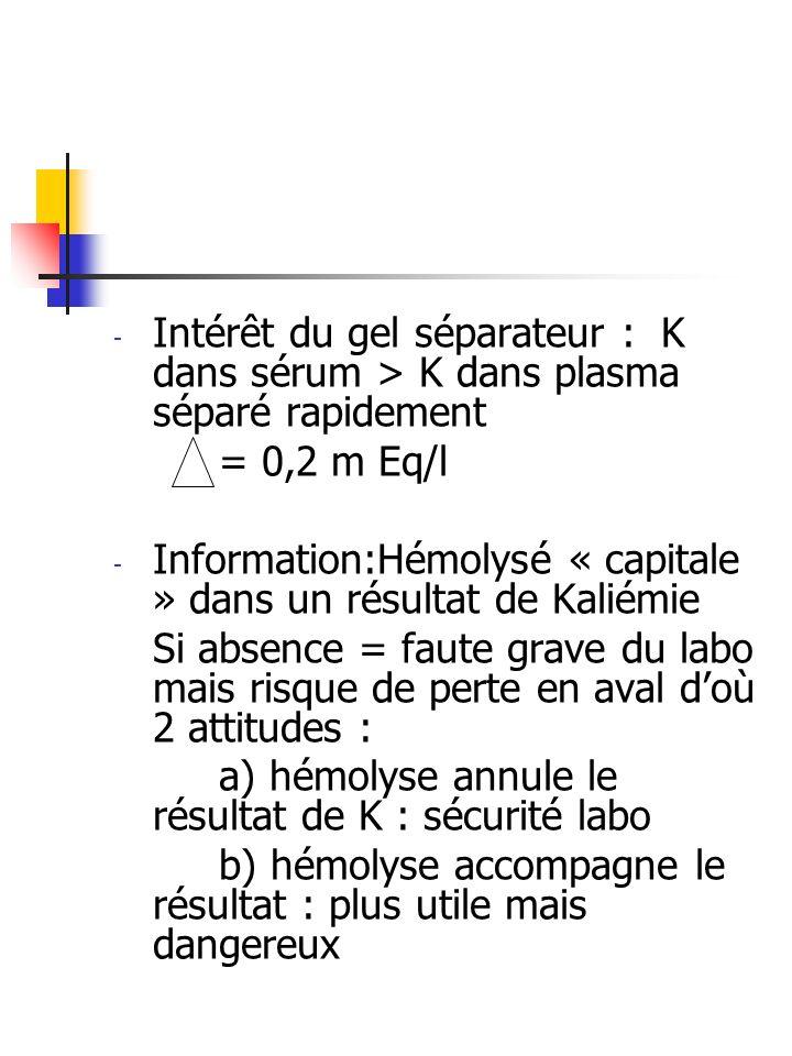 - Intérêt du gel séparateur : K dans sérum > K dans plasma séparé rapidement = 0,2 m Eq/l - Information:Hémolysé « capitale » dans un résultat de Kali