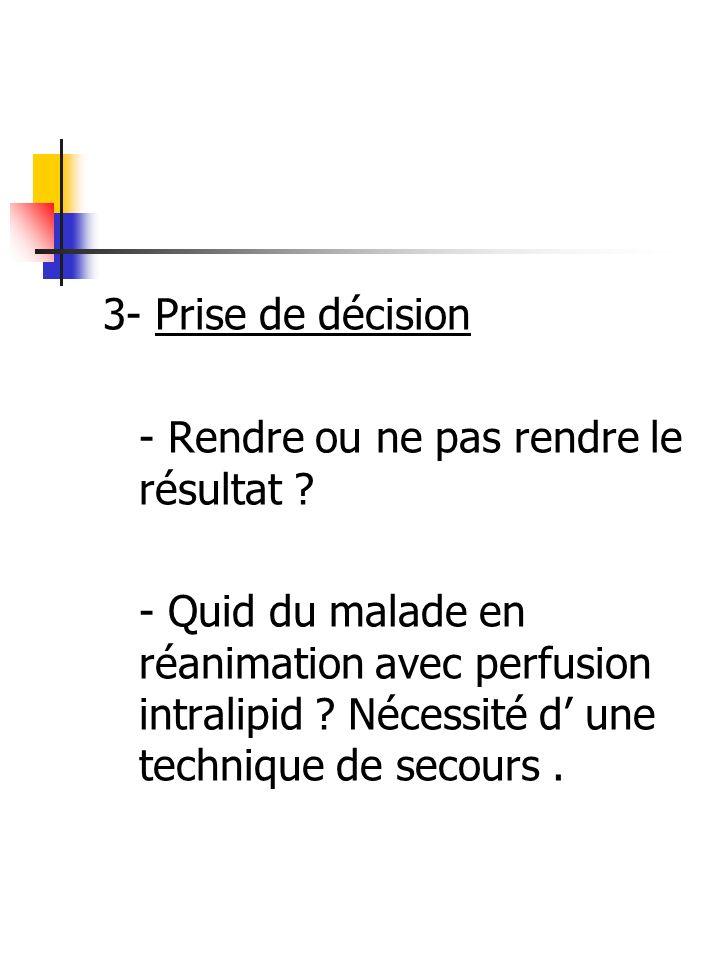 3- Prise de décision - Rendre ou ne pas rendre le résultat ? - Quid du malade en réanimation avec perfusion intralipid ? Nécessité d une technique de