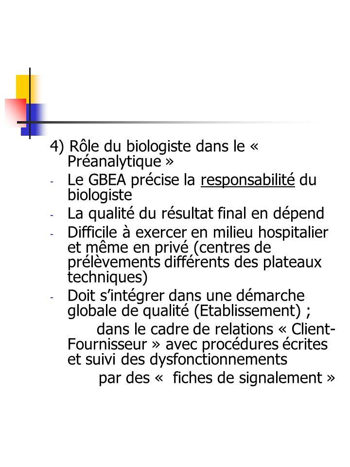 4) Rôle du biologiste dans le « Préanalytique » - Le GBEA précise la responsabilité du biologiste - La qualité du résultat final en dépend - Difficile