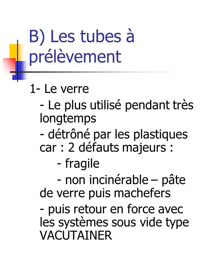 B) Les tubes à prélèvement 1- Le verre - Le plus utilisé pendant très longtemps - détrôné par les plastiques car : 2 défauts majeurs : - fragile - non