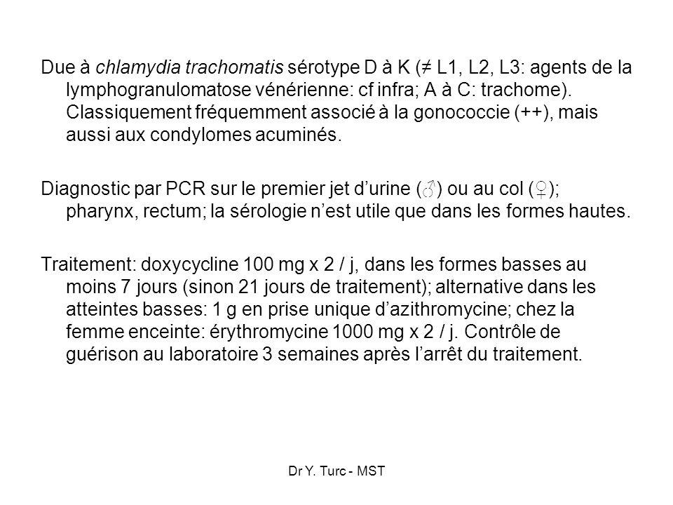 Dr Y. Turc - MST Due à chlamydia trachomatis sérotype D à K ( L1, L2, L3: agents de la lymphogranulomatose vénérienne: cf infra; A à C: trachome). Cla