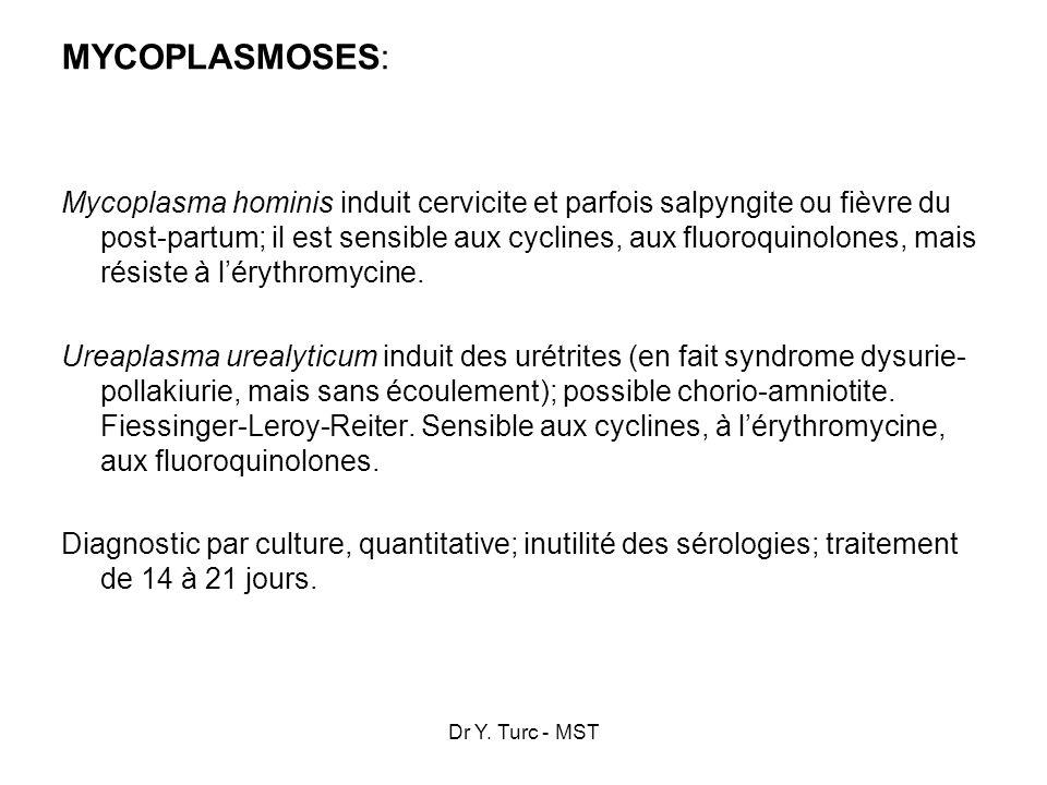 Dr Y. Turc - MST MYCOPLASMOSES: Mycoplasma hominis induit cervicite et parfois salpyngite ou fièvre du post-partum; il est sensible aux cyclines, aux