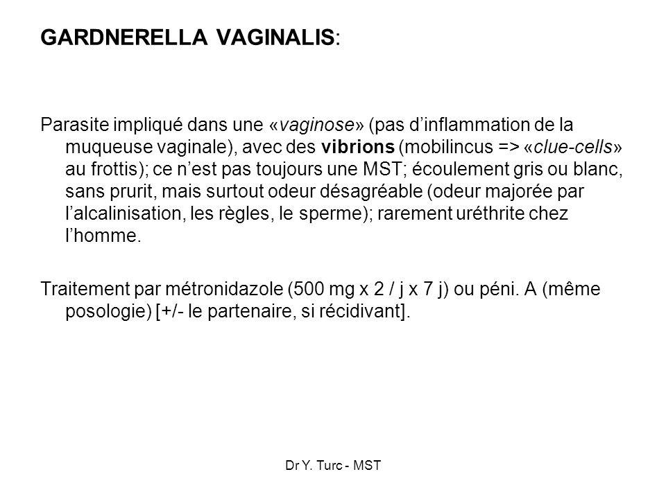 Dr Y. Turc - MST GARDNERELLA VAGINALIS: Parasite impliqué dans une «vaginose» (pas dinflammation de la muqueuse vaginale), avec des vibrions (mobilinc