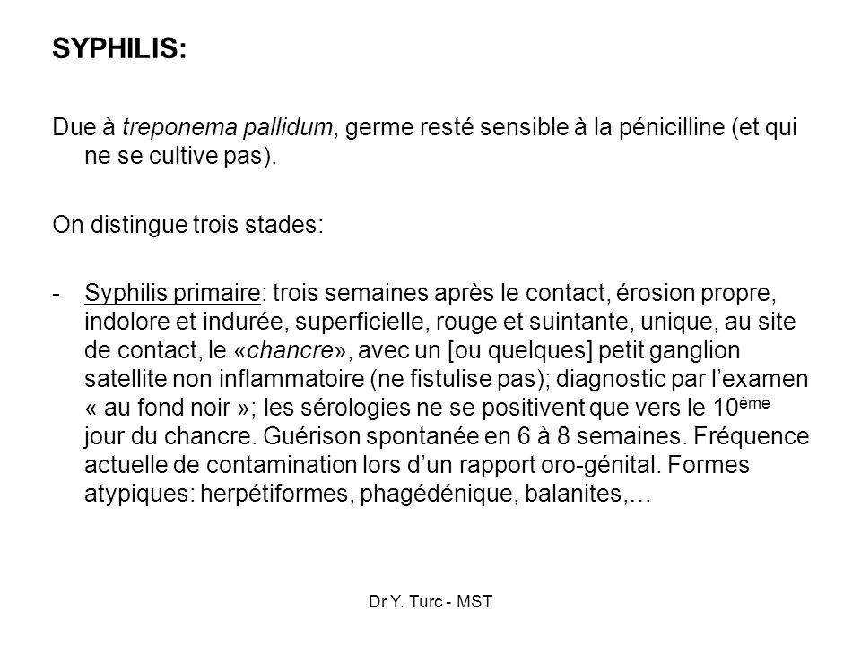 Dr Y. Turc - MST SYPHILIS: Due à treponema pallidum, germe resté sensible à la pénicilline (et qui ne se cultive pas). On distingue trois stades: -Syp