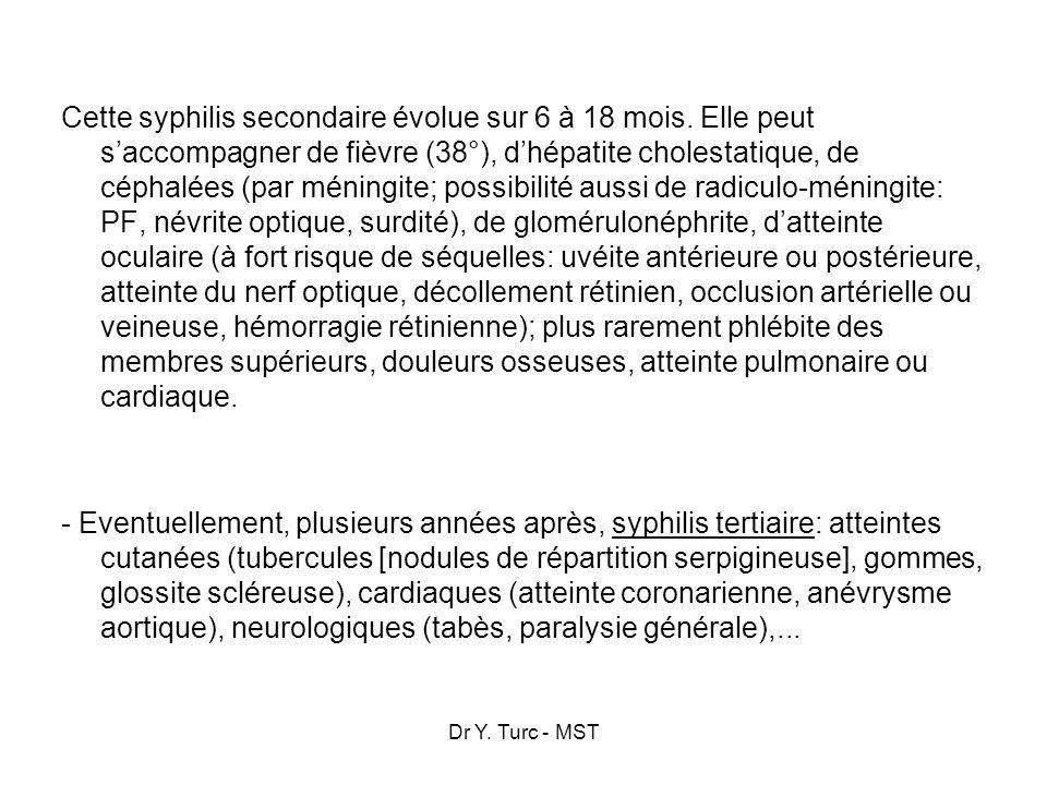 Dr Y. Turc - MST Cette syphilis secondaire évolue sur 6 à 18 mois. Elle peut saccompagner de fièvre (38°), dhépatite cholestatique, de céphalées (par
