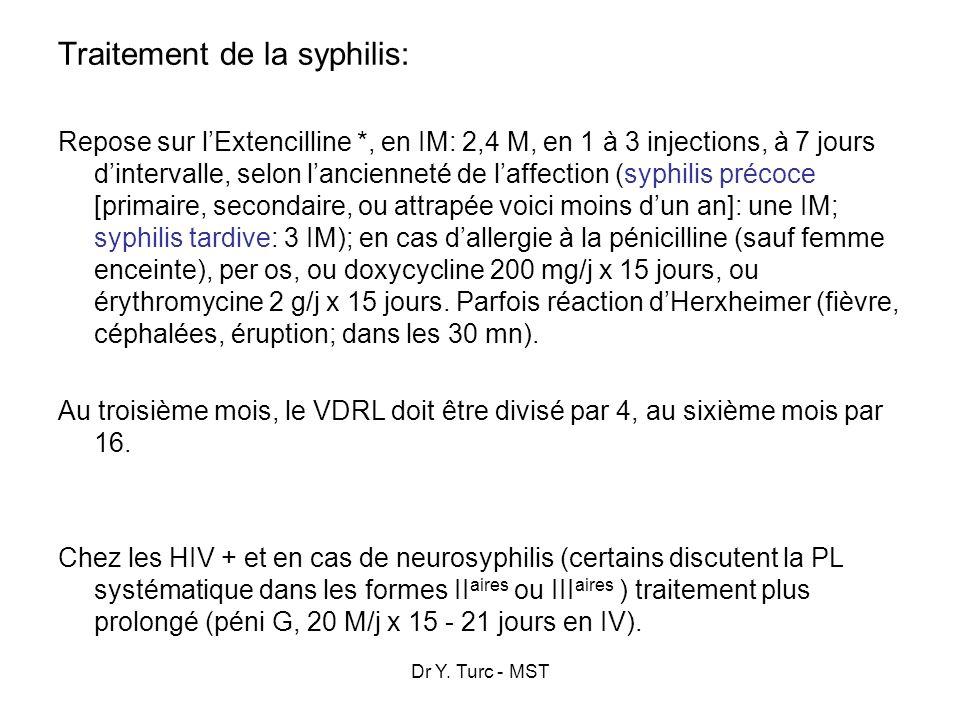 Dr Y. Turc - MST Traitement de la syphilis: Repose sur lExtencilline *, en IM: 2,4 M, en 1 à 3 injections, à 7 jours dintervalle, selon lancienneté de