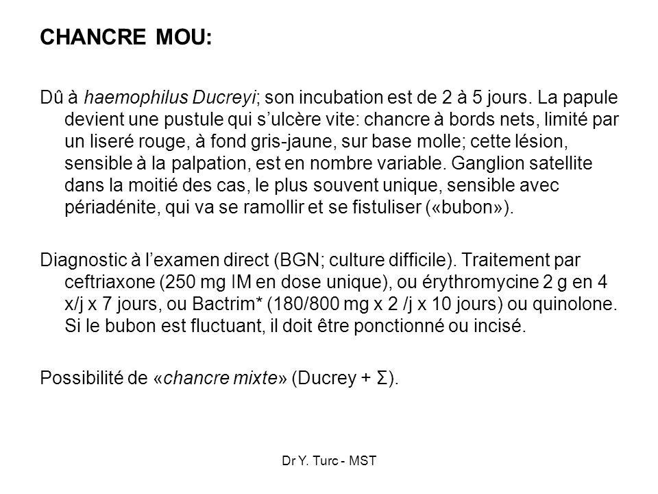 Dr Y. Turc - MST CHANCRE MOU: Dû à haemophilus Ducreyi; son incubation est de 2 à 5 jours. La papule devient une pustule qui sulcère vite: chancre à b