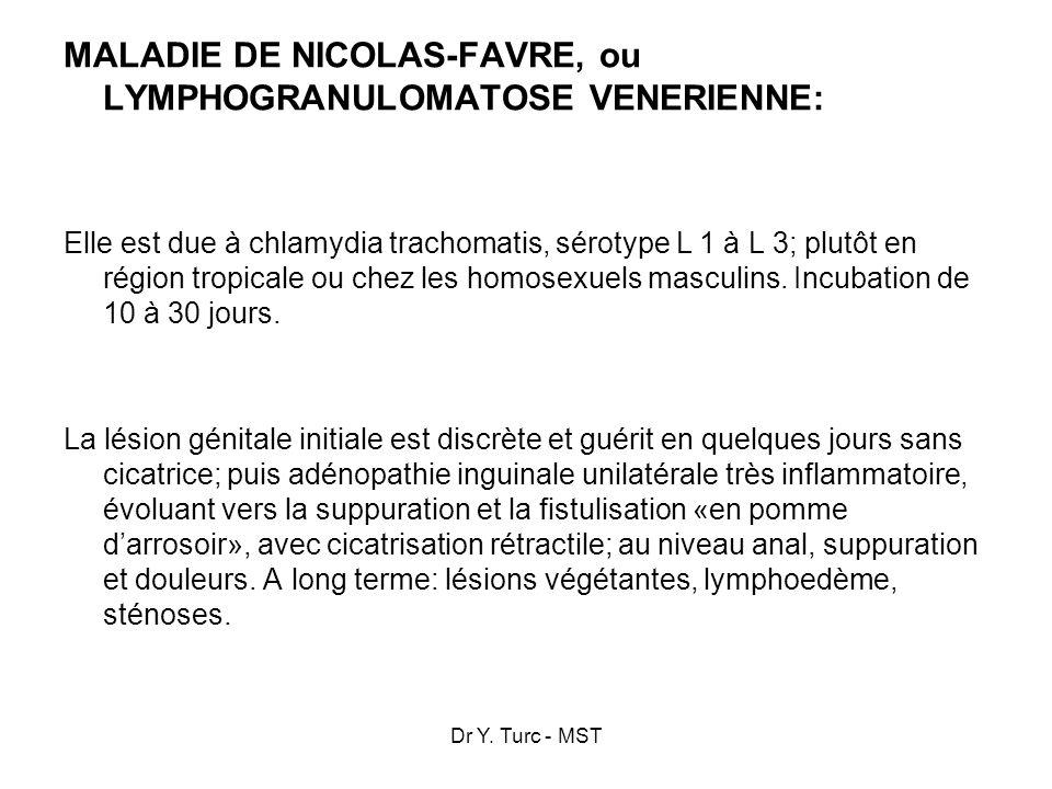 Dr Y. Turc - MST MALADIE DE NICOLAS-FAVRE, ou LYMPHOGRANULOMATOSE VENERIENNE: Elle est due à chlamydia trachomatis, sérotype L 1 à L 3; plutôt en régi