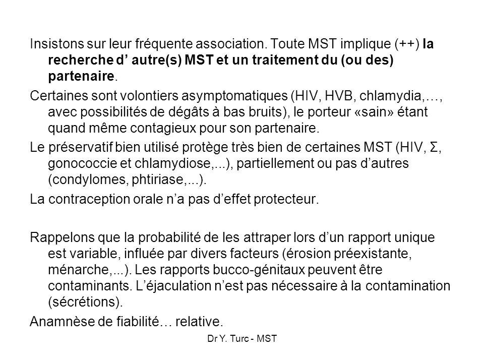 Dr Y. Turc - MST Insistons sur leur fréquente association. Toute MST implique (++) la recherche d autre(s) MST et un traitement du (ou des) partenaire
