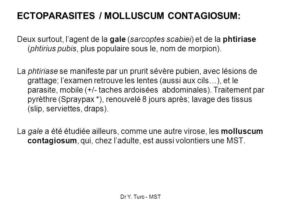 Dr Y. Turc - MST ECTOPARASITES / MOLLUSCUM CONTAGIOSUM: Deux surtout, lagent de la gale (sarcoptes scabiei) et de la phtiriase (phtirius pubis, plus p