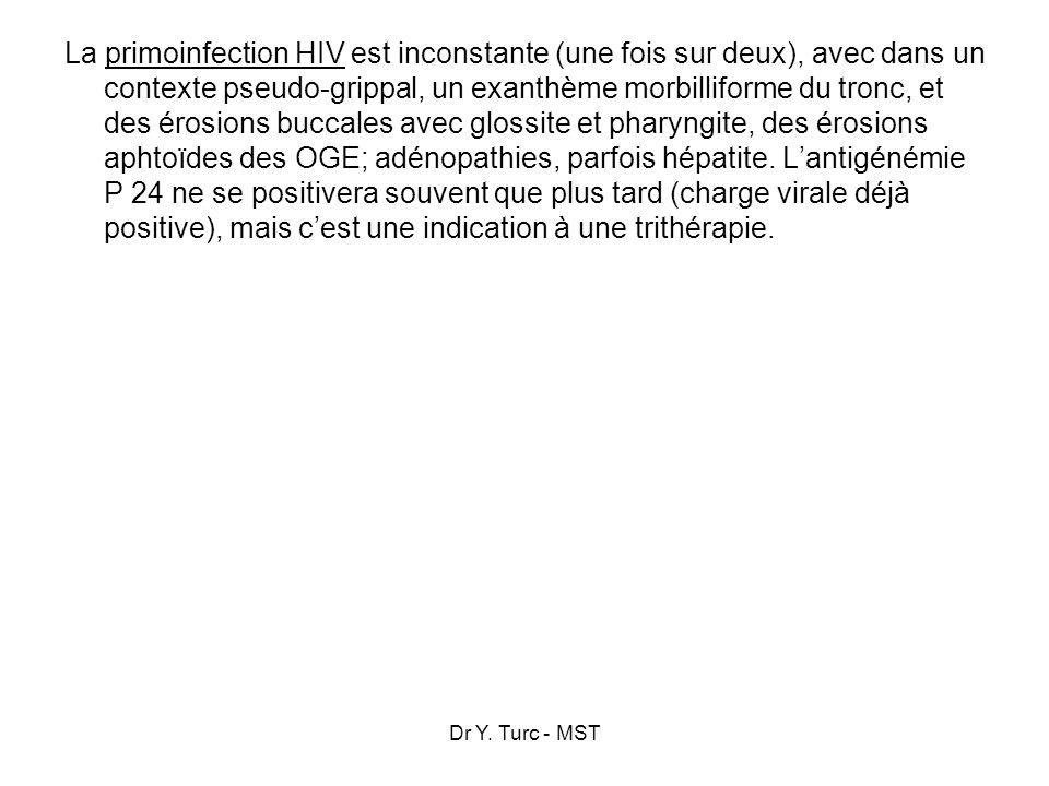 Dr Y. Turc - MST La primoinfection HIV est inconstante (une fois sur deux), avec dans un contexte pseudo-grippal, un exanthème morbilliforme du tronc,