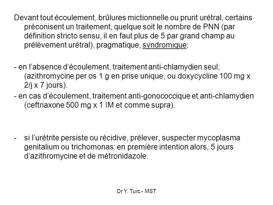 Dr Y. Turc - MST Devant tout écoulement, brûlures mictionnelle ou prurit urétral, certains préconisent un traitement, quelque soit le nombre de PNN (p