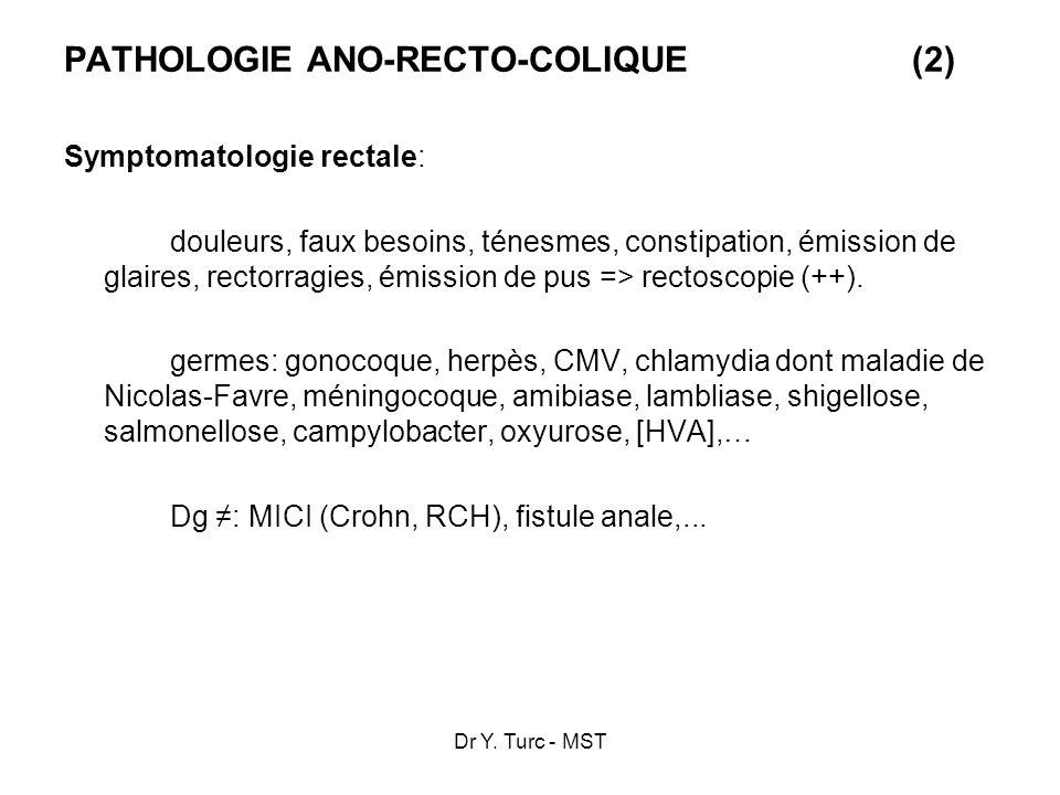 Dr Y. Turc - MST PATHOLOGIE ANO-RECTO-COLIQUE(2) Symptomatologie rectale: douleurs, faux besoins, ténesmes, constipation, émission de glaires, rectorr