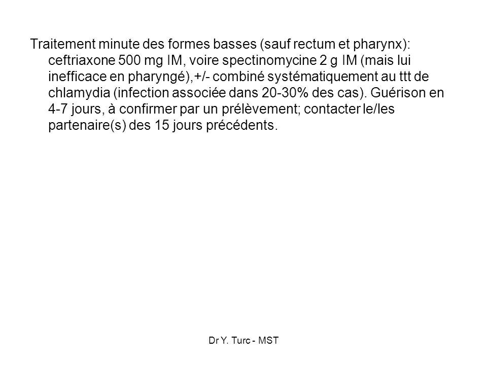 Dr Y. Turc - MST Traitement minute des formes basses (sauf rectum et pharynx): ceftriaxone 500 mg IM, voire spectinomycine 2 g IM (mais lui inefficace