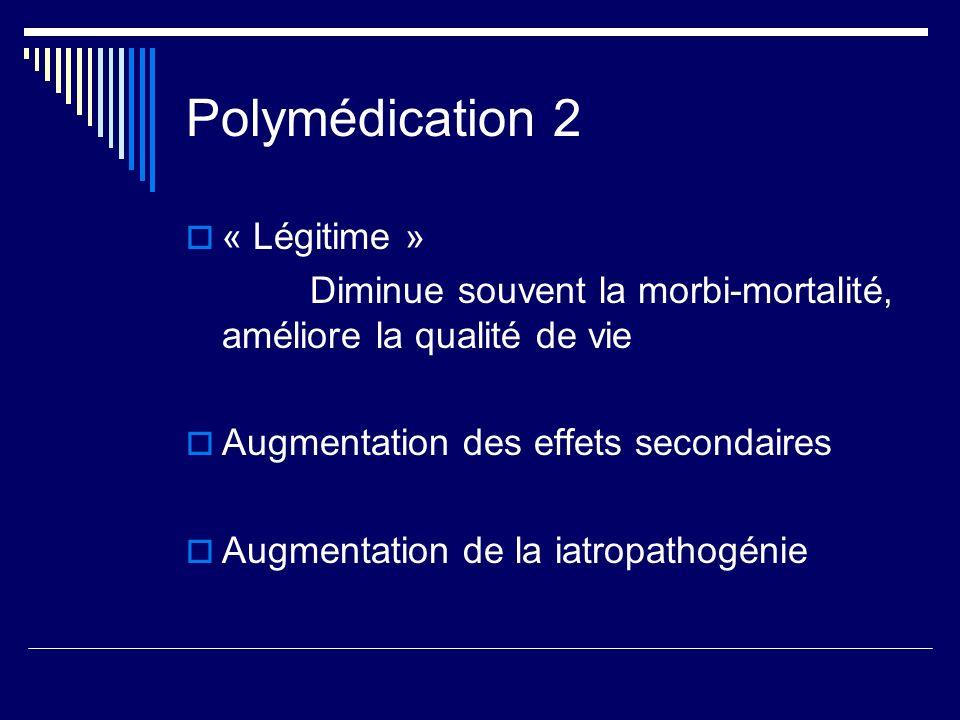 Polymédication 2 « Légitime » Diminue souvent la morbi-mortalité, améliore la qualité de vie Augmentation des effets secondaires Augmentation de la ia